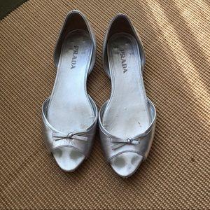 Prada Silver Flats